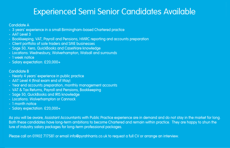 Experienced Semi Seniors Available